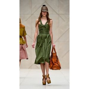 Brand New Burberry Prorsum Bow Front Silk Dress